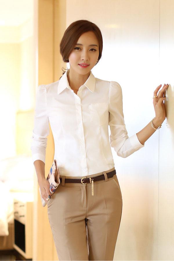 Áo sơ mi nữ màu trắng đẹp kiểu công sở duyên dáng