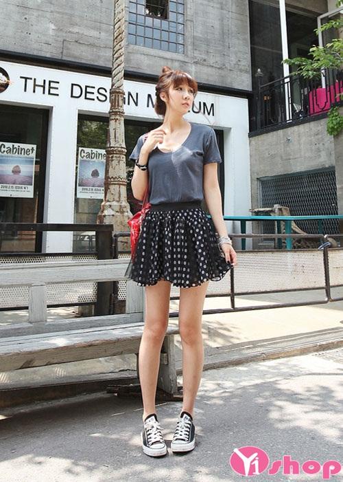Những mẫu chân váy đầm chấm bi ngắn hàn quốc