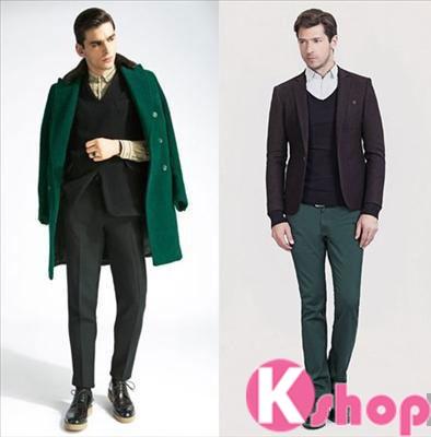 Xu hướng thời trang màu xanh lục bảo đầy nam tính