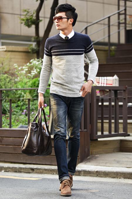 Mix áo sơ mi nam với áo len đẹp lịch sự cho chàng thanh lịch