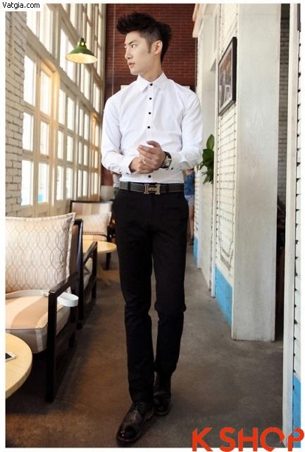 Chàng công sở lịch lãm với áo sơ mi nam trắng