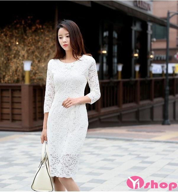 Váy đầm liền thân tay lỡ thanh lịch cho nàng công sở