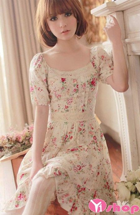 Váy đầm dáng xòe tay bồng cho nàng cò hương