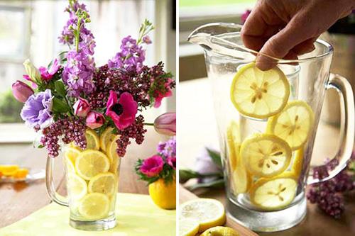 Dùng quả chanh để làm đẹp cho bình hoa