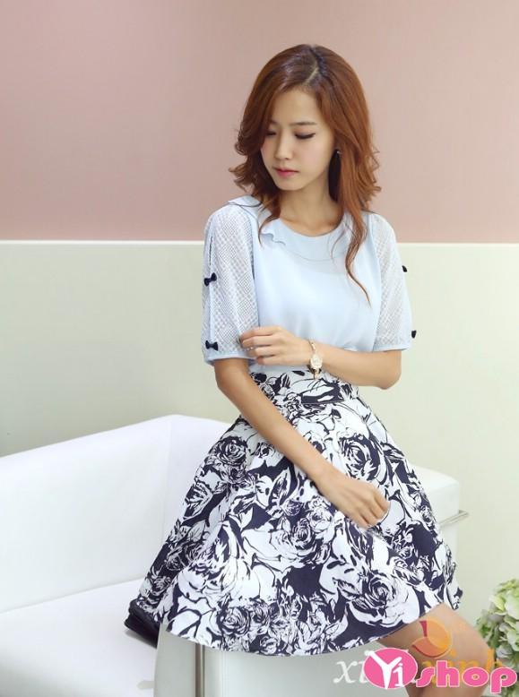 Chân váy đầm xòe họa tiết hoa đẹp đáng yêu